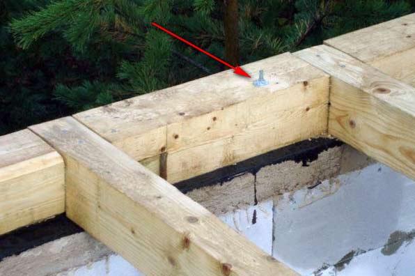 На рисунке видно, как с помощью зацементированной арматуры крепится основание из бруса к фундаменту