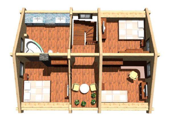 Объемная 3D-модель внутренней планировки второго этажа