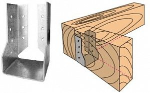 Опора бруса 150х150 закрытая: лепестки для крепления скрыты