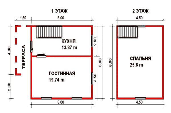План двухэтажного брусового дома.