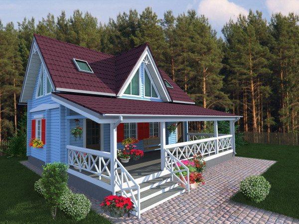 План открытой веранды с боку дома