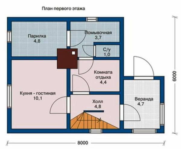 План первого этажа дома с баней