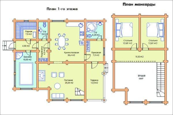 План первого и мансардного этажей