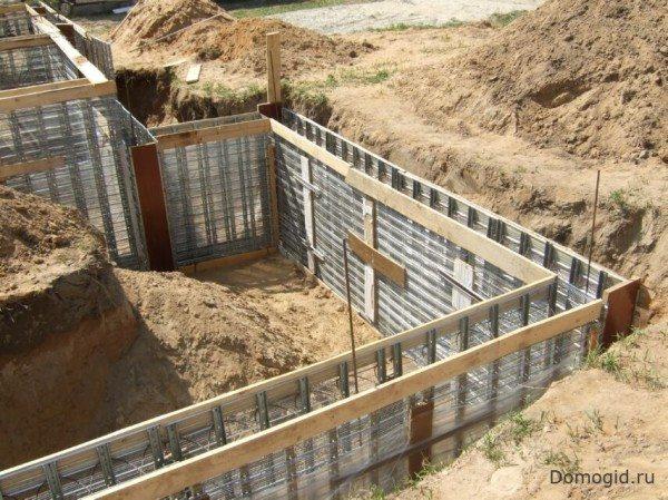 Подготовка для бетонного ленточного основания с возможностью размещения подвального помещения