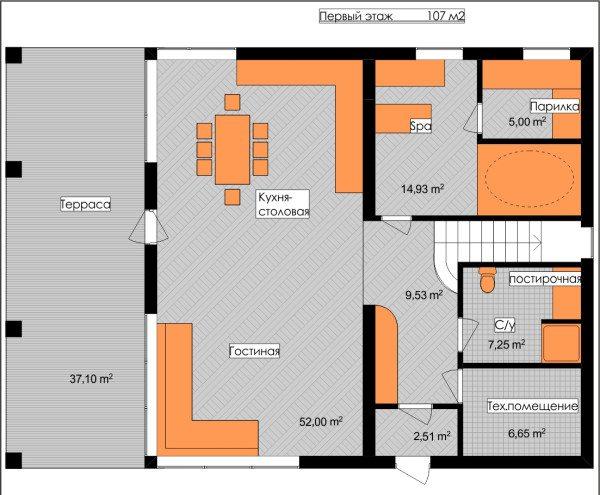 Подробный план первого этажа с террасой