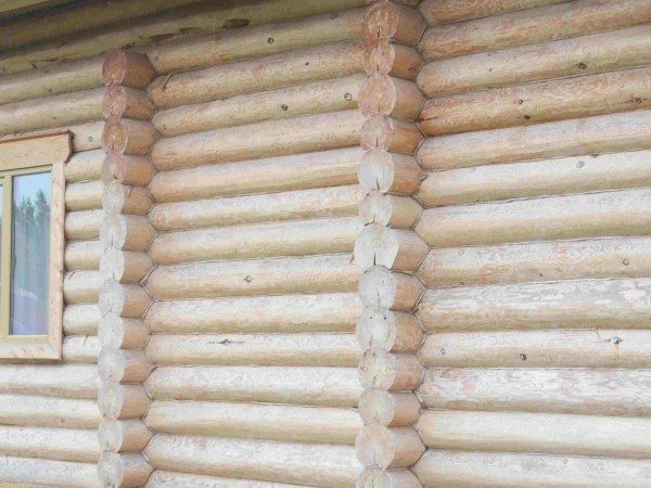 При диаметре бревна в 200 миллиметров толщина стены на стыках между бревнами в 1,5-1,8 раза меньше.