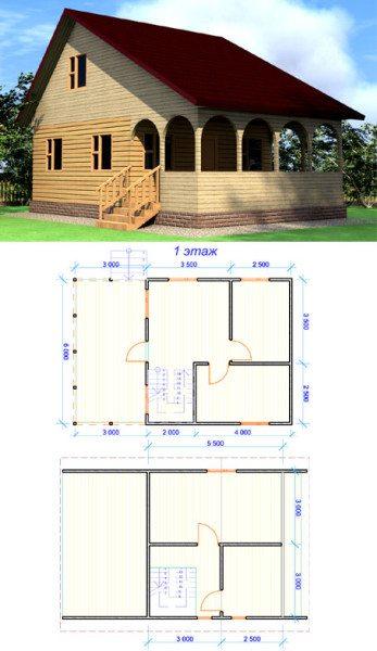 Пример проекта брусового дома