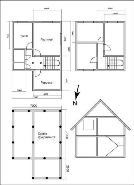 Пример проекта брусового дома 7х7 метров