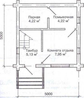 Пример проекта строения с габаритами 5х5 и дополнительным мансардным помещением