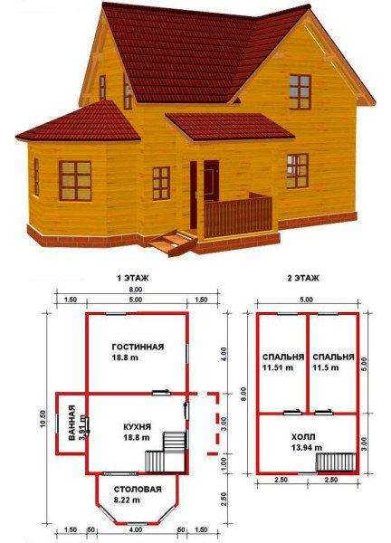 Пример схемы дома 8х10