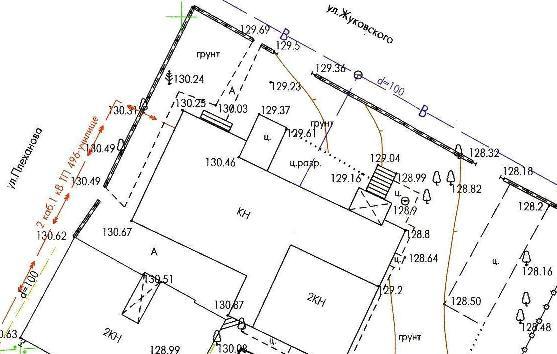 Пример топографической карты участка.