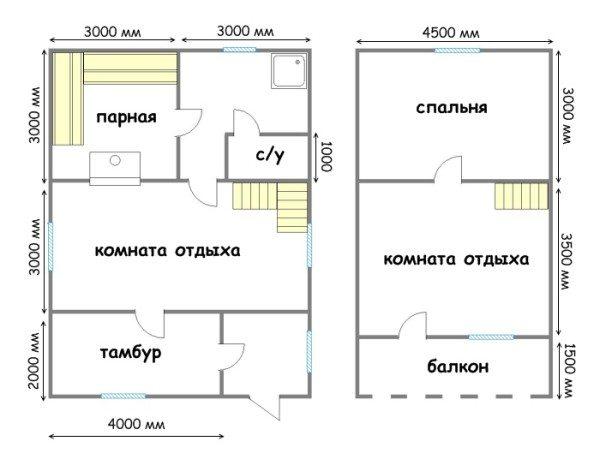Проект дома 6х9 из бруса с мансардой (первый и мансардный этаж)