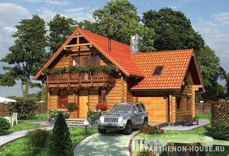 Проект дома из бруса с мансардой: фасад