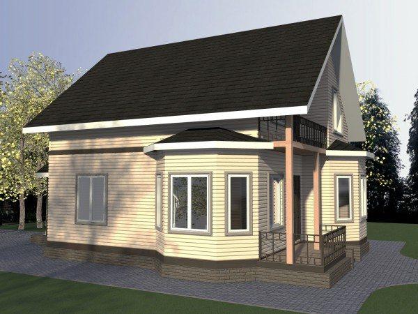 Проект одноярусного брусового дома с эркером и мансардой.