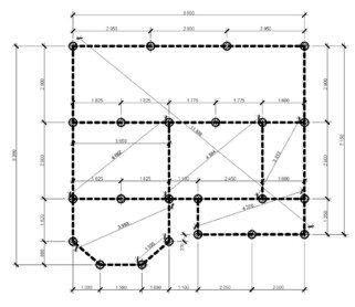 Проект свайного поля, нанесенный на план здания