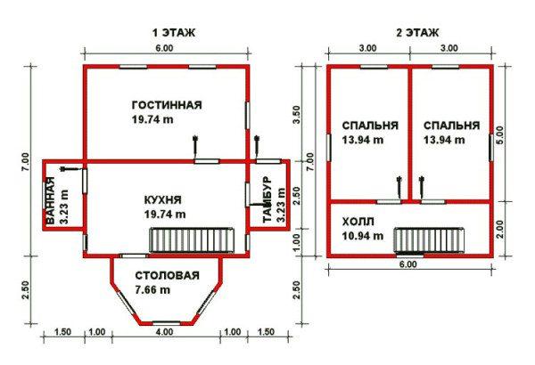 Проектный чертеж недорого брусового дома среднего размера.