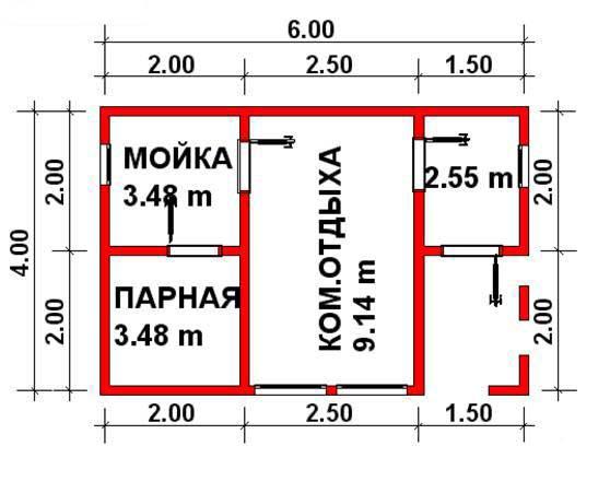 Проектный план для бани своими руками из бруса 6х4м