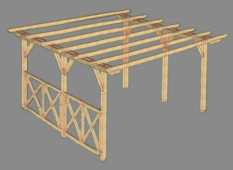 Простая конструкция навеса из дубового бруса