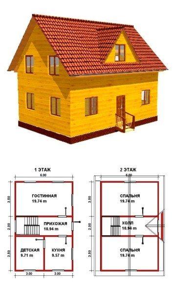 Простой брусовый дом