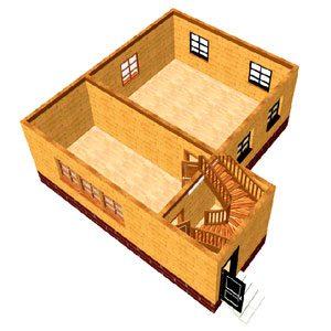Схематическое изображение первого этажа в доме 8х8 м.