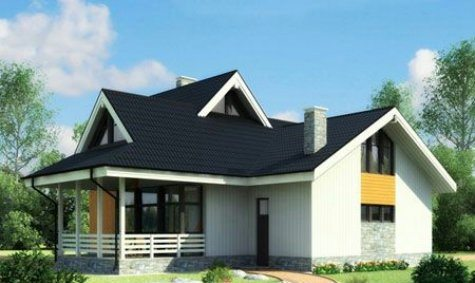 shtëpi simetrik me një tarracë
