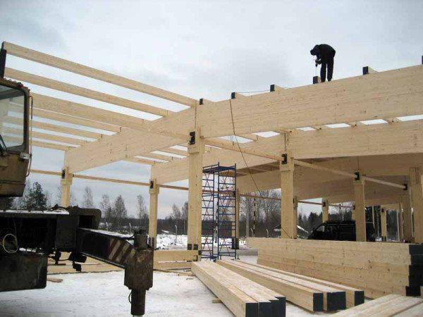 Строительство большого объекта из бруса