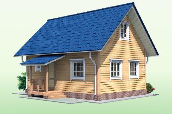 Типовой 3D проект дома с мансардой