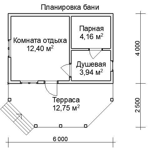 Типовой проект бани 6х4