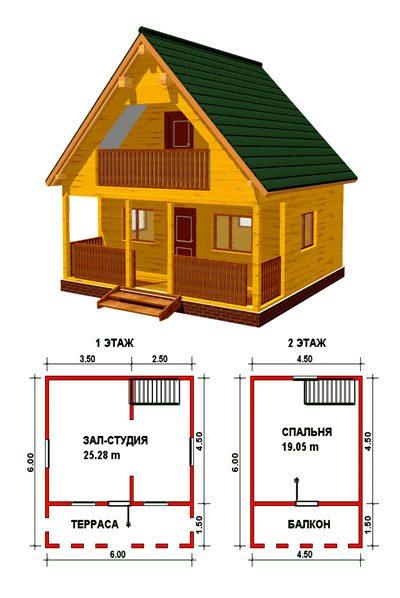 Типовой проект брусового дома