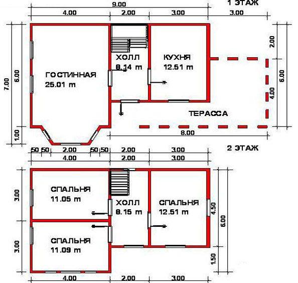 Типовой проект небольшого двух этажного дома с террасой на первом уровне