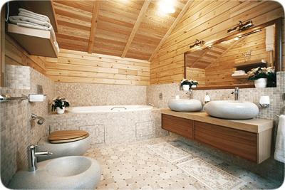 Ванная комната в брусовом владении