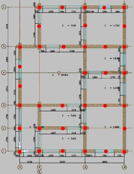 Вариант проекта изготовления зданий с указанием мест для размещения винтовых свай