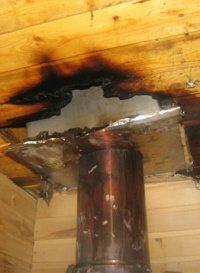 Вот так может выглядеть ваш потолок в бане, если дымоход не будет облагорожен